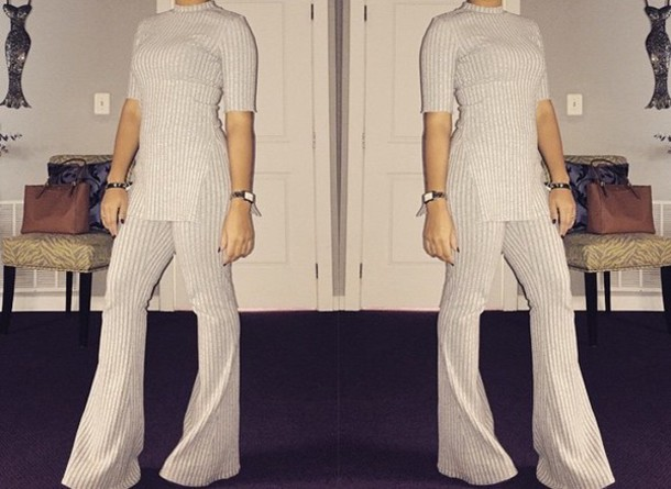 jumpsuit stripes two-piece bell bottoms