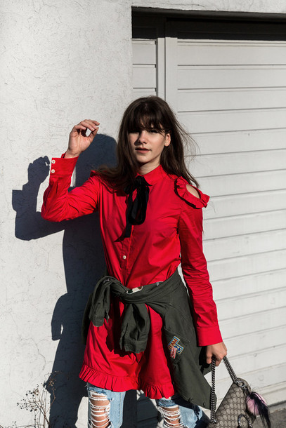 the fashion fraction blogger dress jacket jeans shoes bag red mini dress red dress cut out shoulder mini dress ruffle ruffle dress long sleeves ripped jeans blue jeans bag accessoires dionysus gucci bag gucci
