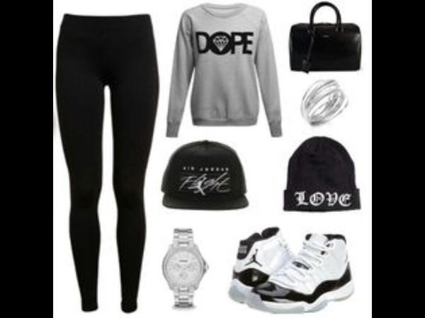 beanie black dope sweater leggings jordans bag grey white silver jewels shoes hair accessory