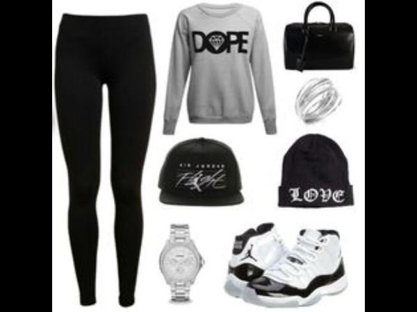 beanie black dope sweater leggings jordans bag grey white silver jewels shoes hair accessory