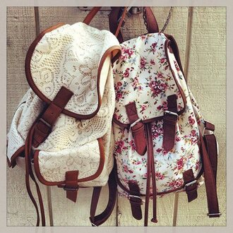 backpack floral white backpack bag lace bag summer summer bag flowers white vintage hipster lovers + friends white lace white bag pink vintag white lace backpack and flower backpack home accessory fashion back to school school bag style baige