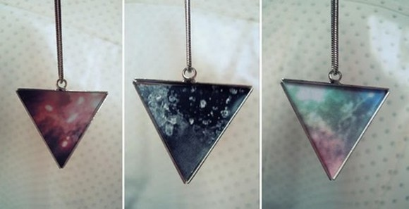 triangle necklace galaxy print hipster triangle necklace