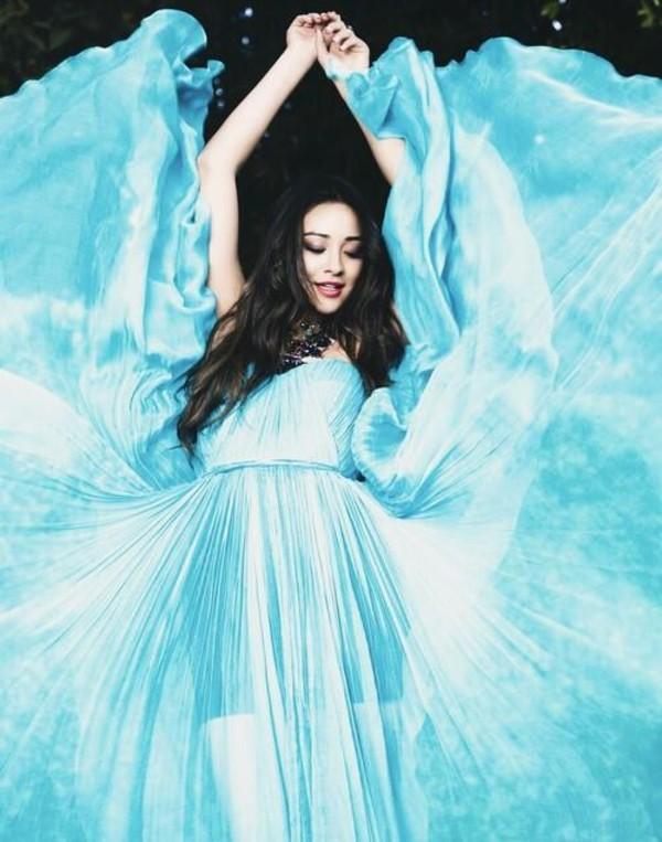 dress, maxi dress, blue dress, blue, pretty little liars ...