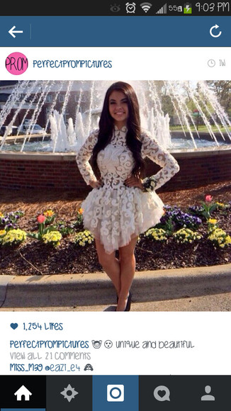 dress prom dress lace cute white white dress lace dress cute dress short prom dress white lace dress long sleeve dress