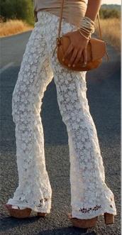 pants,cream,lace,hippie