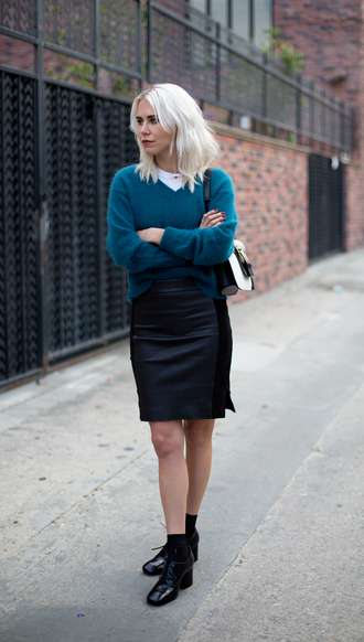 always judging blogger v neck black skirt black shoes blonde hair sweater skirt bag tank top shoes jewels