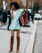 shoes,boots,knee high boots,high heels boots,mini dress,vest,white t-shirt,leather clutch