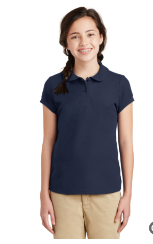 Embroidered Port Authority® Girls Silk Touch™ Peter Pan Collar Polo