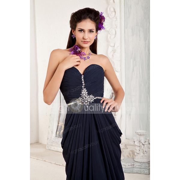 Romantic Navy Elegant A-line Sweetheart Chiffon Chapel Train Evening Dress - $163.99
