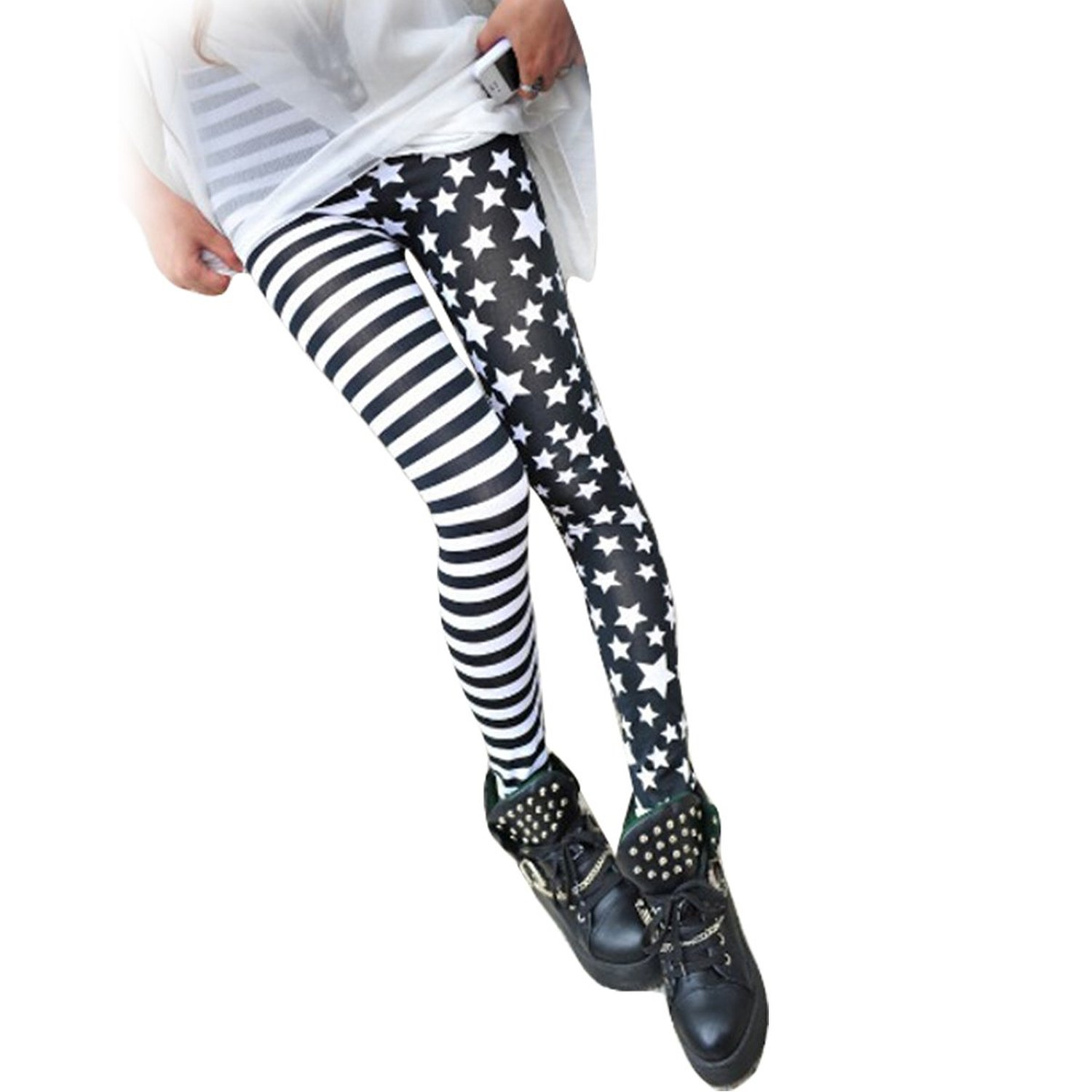 WHATWEARS Women Black And White Striped Star Stitching Jegging Leggings at Amazon Women's Clothing store: