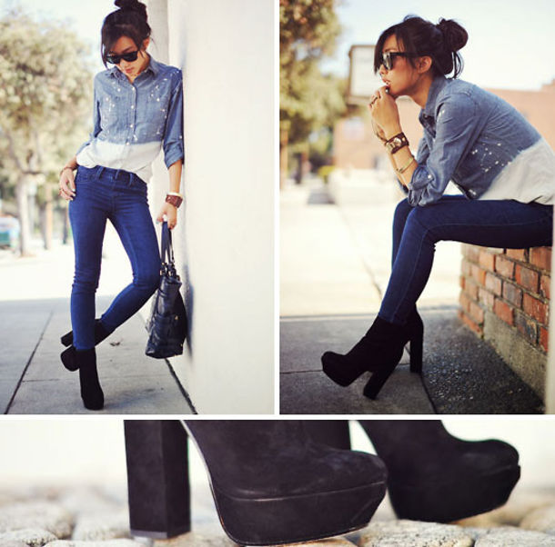 Shoes: high heel, boots, chunky heels, chunky, black, ankle boots ...