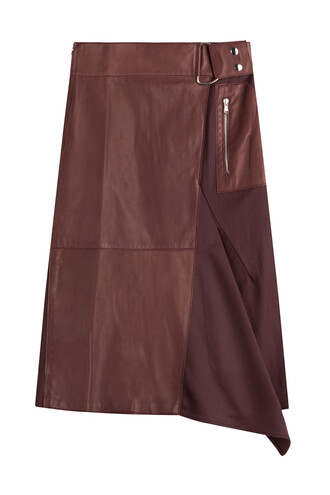 skirt leather skirt leather silk purple