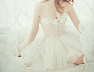 dress corset tulle skirt lace white