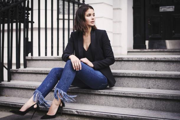 caec2094cd87 jeans frayed jeans frayed denim denim blue jeans blazer black blazer pumps  pointed toe pumps black