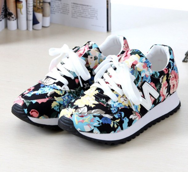 shoes sneakers new balance floral sneakers floral flowers floral shos white pink tennis shoes girly shoes hair accessory