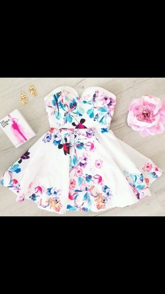 dress white dress floral dress spring dress cutedress bustier dress