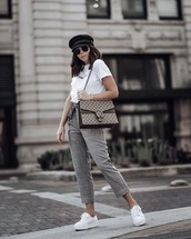 pants,cropped pants,grey pants,plaid pants,bag,fisherman hat,sunglasses,sneakers,white t-shirt,t-shirt,white sneakers