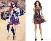 dress,teen wolf,jacket,summer dress,perfecto,blue jacket,romper,holland roden,shoes,floral romper