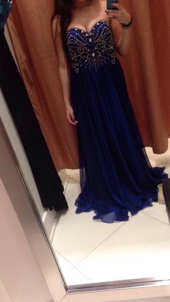 dress royal blue prom dress