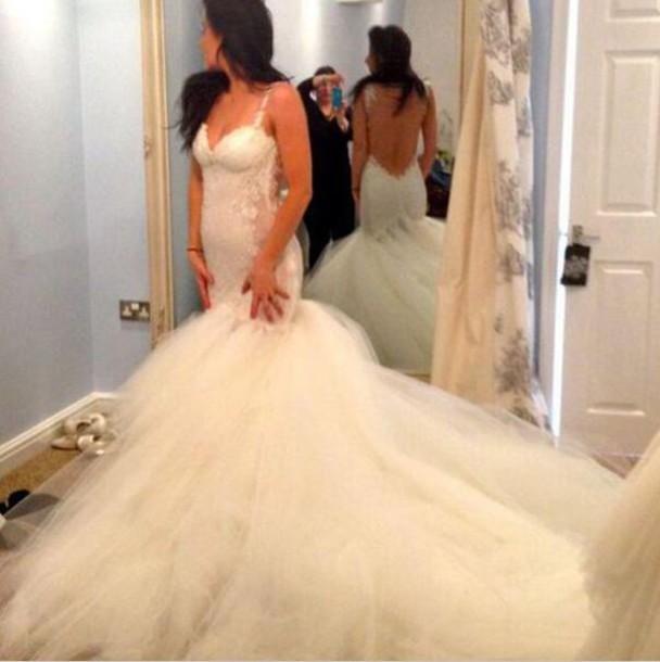 mermaid wedding dress, backless wedding dress, 2015 bridal gowns ...