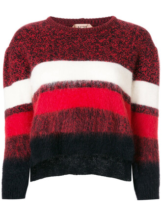 jumper women fluffy mohair wool red sweater