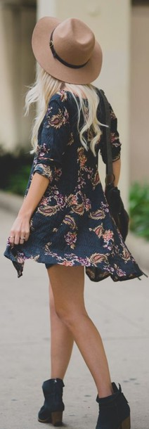 dress multicolor hat floral dress