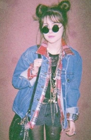 90s jacket denim grunge vintage plaidshirt