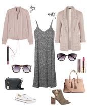 lauren loves,blogger,jacket,sunglasses,bag,shoes,blazer,grey dress,mini bag,black bag,nude bag,lace up heels,lace up,white sneakers