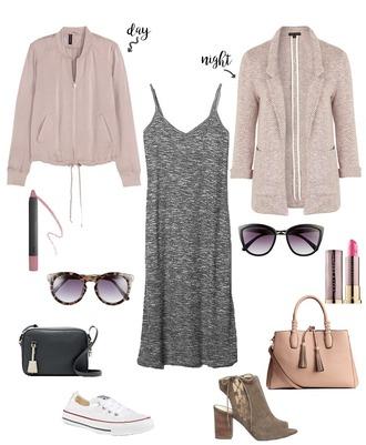 lauren loves blogger jacket sunglasses bag shoes blazer grey dress mini bag black bag nude bag lace up heels lace up white sneakers