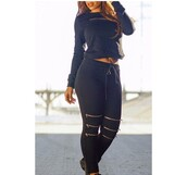 jumpsuit,stylish,all black everything,casual,high waisted,crop tops,girly,fashion,cool,urban,two-piece,black,long sleeves,Sexy Round Neck Long Sleeve Sweatshirt + Elastic Waist Pants Women's Twinset,trendy,sweater,rosegal-jan,navy,zip,cute