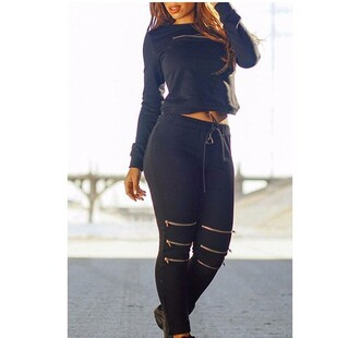 jumpsuit stylish all black everything casual high waisted crop tops girly fashion cool urban