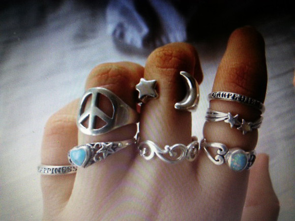 jewels pretty jewelry ring rings stone beautiful hipster moon sun