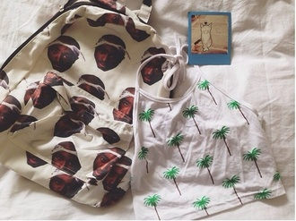 top crop tops tumblr outfit palm tree print tropical kawaii levi's hipster bag