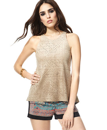 4278f7186ab1f1 BCBGMAXAZRIA Top, Caralyn Sleeveless Faux-Suede Shell - Tops - Women -  Macy's