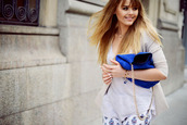 bag,kayture,leather bag,fashion blogger,blonde hair,electric blue,chic
