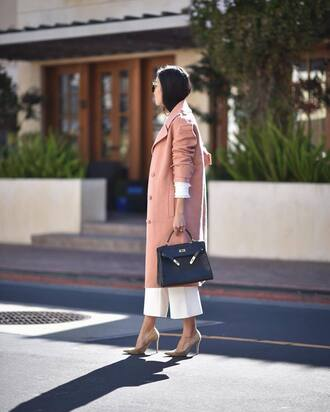 coat tumblr pink coat pants white pants wide-leg pants cropped pants pumps pointed toe pumps bag black bag