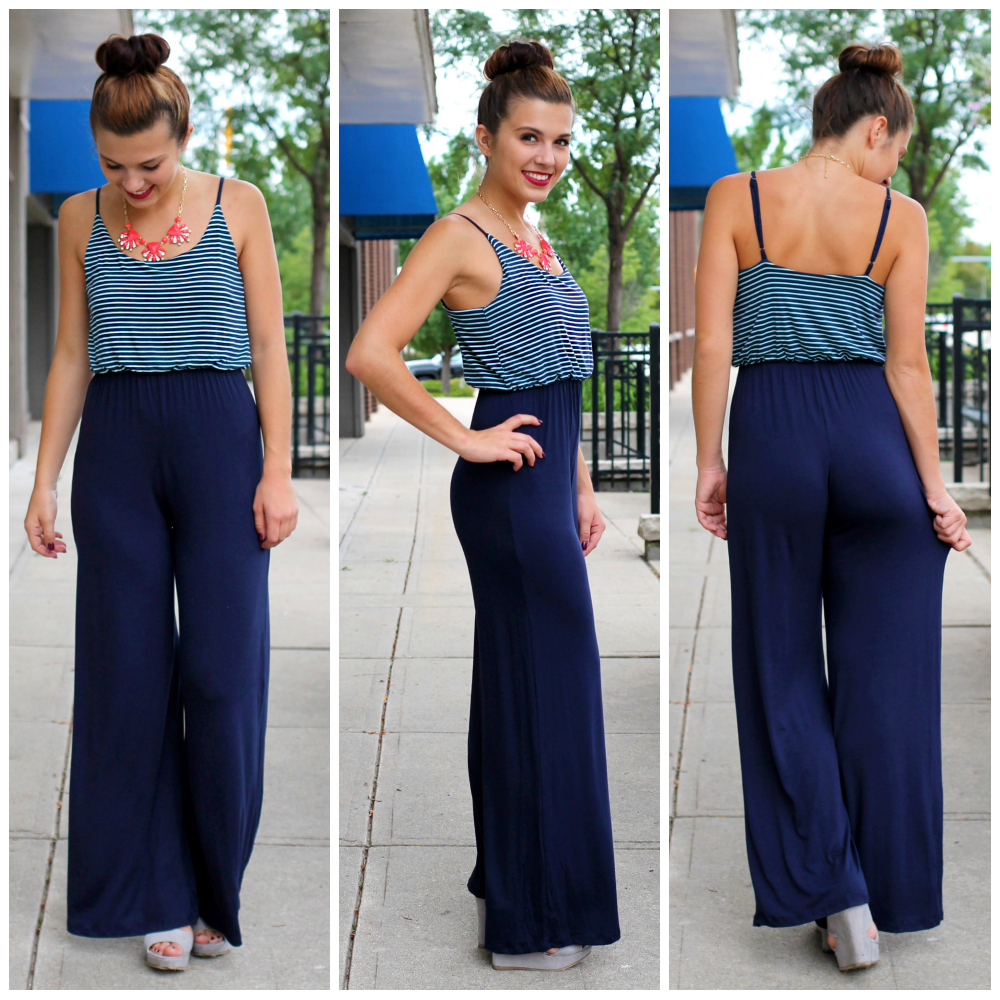Striped Jumpsuit | uoionline.com: Women's Clothing Boutique