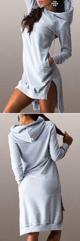 sweater hood sweatshirt long grey