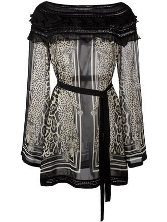 blouse sheer blouse sheer animal print animal print black top