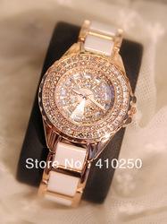 Garfield Luxus voll strass weißer keramik frauenkleidung designer quarz armbanduhr weiblichen dame tabelle