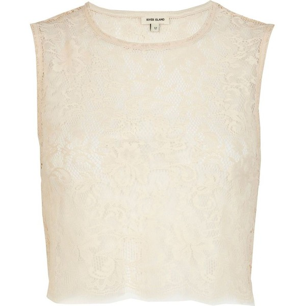 River Island Cream lace sleeveless crop top - Polyvore