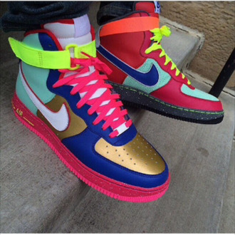 sneakers high top sneakers air force ones air force 1 air force air forces air force one air force 1's air force ones nike nike air nike sneakers nike high tops multicolor sneakers multi colored multicolor multicolored multi color multicolor shoes mens shoes neon shoes bright sneakers