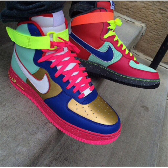mens shoes nike sneakers sneakers high top sneakers air force ones air force 1 air force air forces air force one air force 1's air force ones nike nike air nike high tops multicolor sneakers multi colored colorful colorful multi color multicolor shoes neon