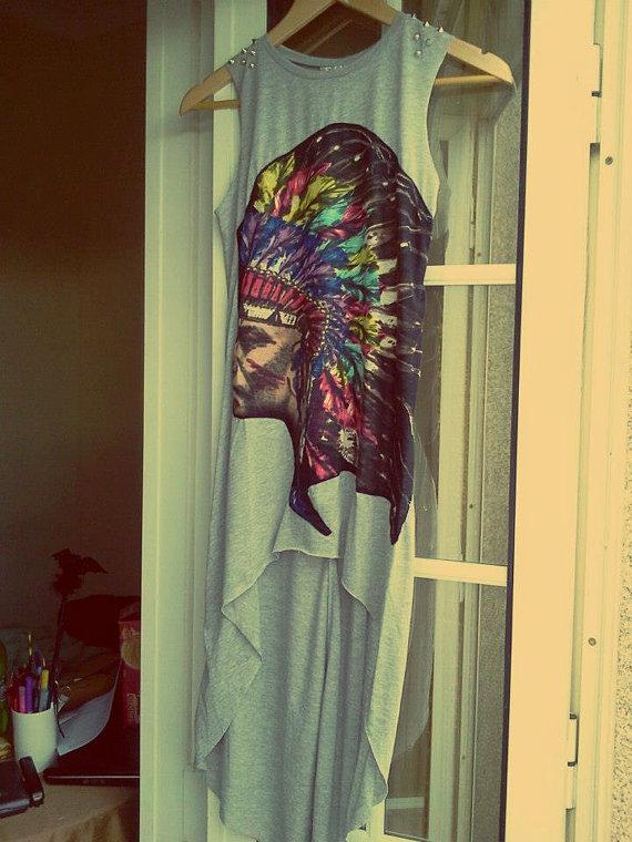 New asymmetric boho aztec navajo grey dress with by chicutopia