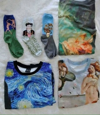 socks cute top cool style painting sweater printed sweater