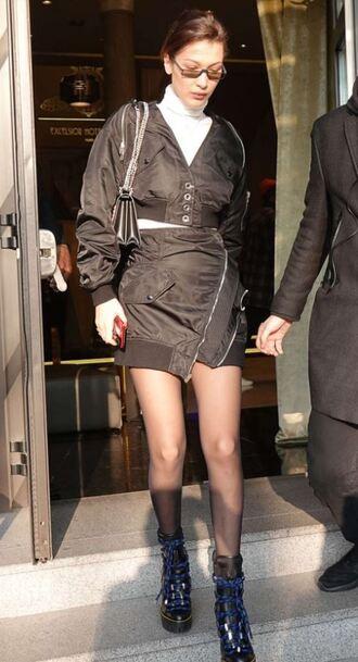 skirt jacket turtleneck ankle boots boots mini skirt black bella hadid model off-duty streetstyle milan fashion week 2018 fashion week 2018 asymmetrical asymmetrical skirt