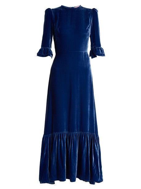THE VAMPIRE'S WIFE dress velvet dress velvet blue