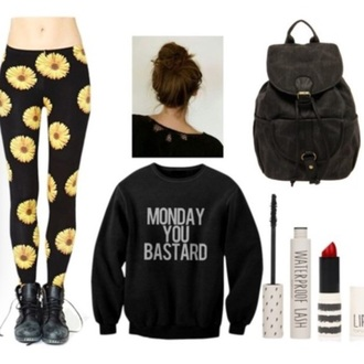 sweater black sweater mondays grunge sweater bag tights leggings