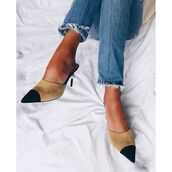 shoes,tumblr,chanel,chanel shoes,chanel mules,jeans,blue jeans,mules