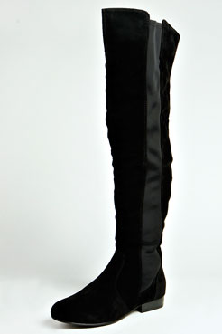 Lydia Suedette Elastic Insert Knee High Boot at boohoo.com